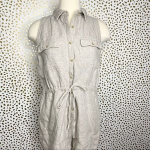 Sage The Label Beige Linen Romper